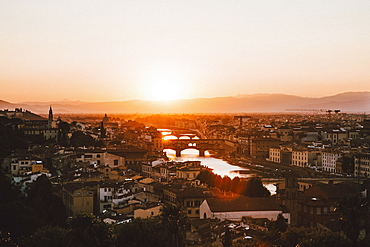 Scenic sunset view Florence cityscape, Tuscany, Italy