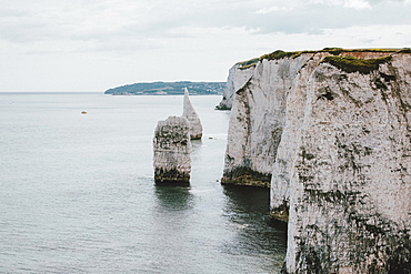Scenic white cliffs above ocean, Jurassic Coast, Dorset, UK