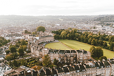Scenic aerial cityscape view, Bath, Somerset, UK