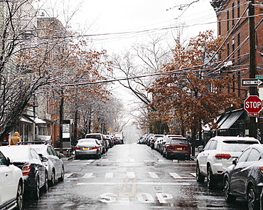 Snowy urban winter street, New York City, New York, USA