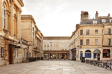 Buildings around empty town square, Bath, Somerset, UK