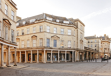 Buildings and empty street, Bath, Somerset, UK
