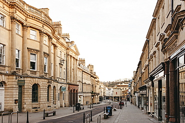 Buildings along empty street, Bath, Somerset, UK