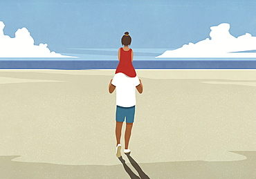 Father carrying daughter on shoulders on idyllic sunny summer ocean beach