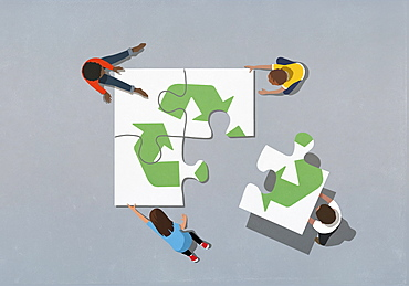 Team finishing recycling symbol jigsaw puzzle with missing piece