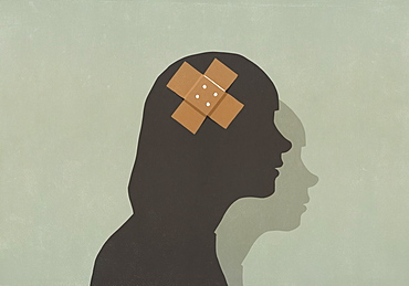 Silhouette woman with bandage over head