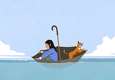 Woman and dog in umbrella floating on sea
