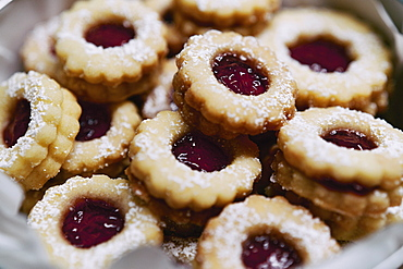Close up fresh baked Linzer cookies