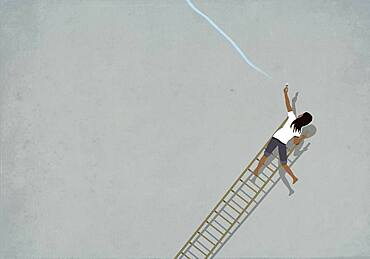 Woman trying to paint blue line on falling ladder