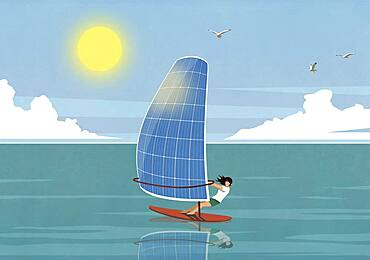 Woman windsurfing with solar panel sail on sunny ocean