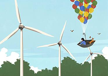 Girl and dog floating in balloon umbrella above wind turbines