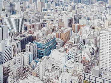 Aerial view buildings and cityscape, Tokyo, Japan