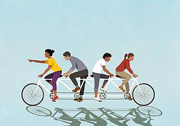 Couples riding tandem bicycle in opposite direction