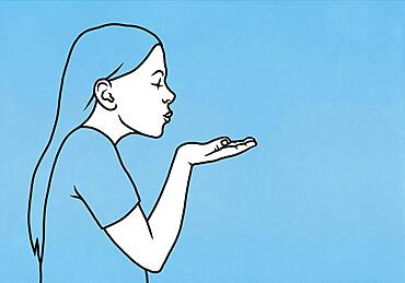 Woman blowing a kiss on blue background