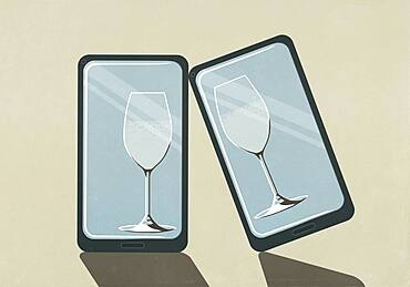 Virtual champagne glasses on device screens