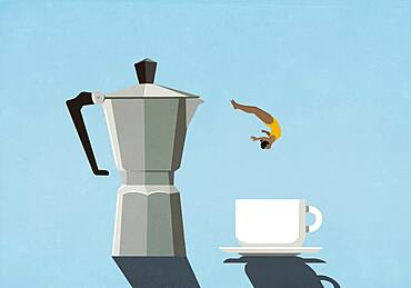 Woman diving from coffeepot into coffee cup