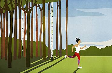 Woman running in sunny rural field with trees