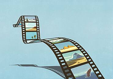 Travel and nature images on film reel