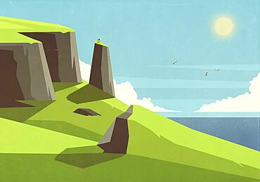 Seagulls flying over sunny ocean and green cliffs