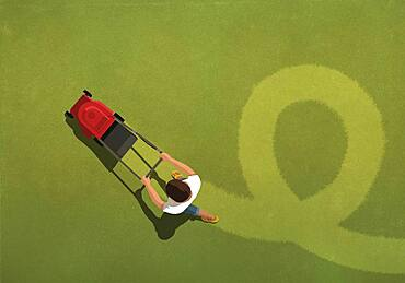 Aerial view man mowing lawn in pattern