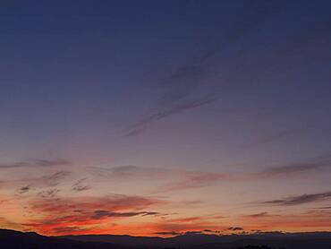 Dramatic red and blue sunset sky, French Riviera, France