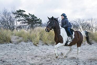 Girl riding brown and white horse in sand