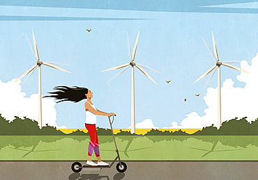 Carefree woman riding electric push scooter along wind turbines