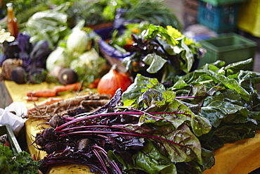 Leafy vegetables on table for sale in the market