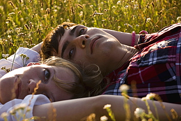 A young couple lying on their backs in a field