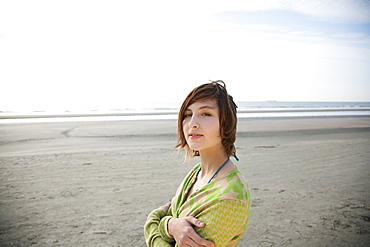 Portrait of a young woman at the beach