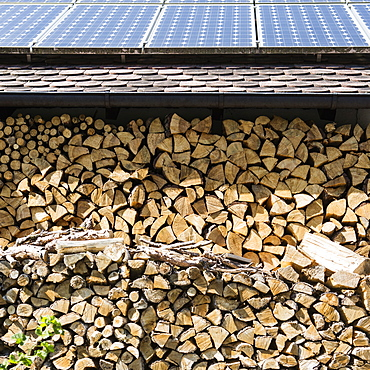 Solar panels on stack of logs
