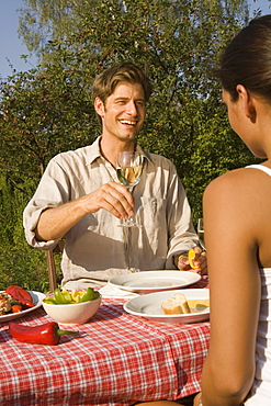Young couple toasting at picnic table
