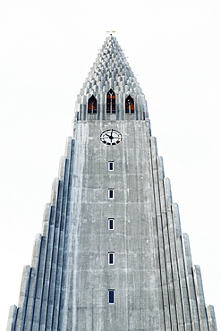 Low angle view of Hallgrimur's Church against clear sky