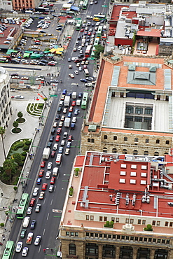 High angle view of city street and buildings
