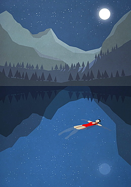 Moonlight shining over serene woman floating on back in tranquil mountain lake