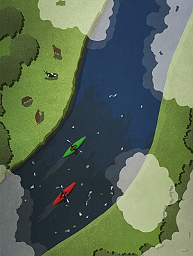 View from above kayakers on polluted river