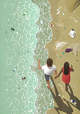 Couple walking on polluted ocean beach