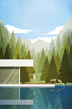 Couple stretching and swimming outside modern lake house