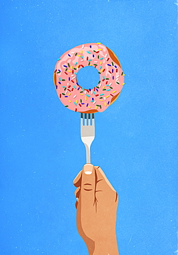 Fork piercing donut with sprinkles