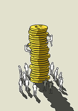 People climbing tall stack of Euro coins