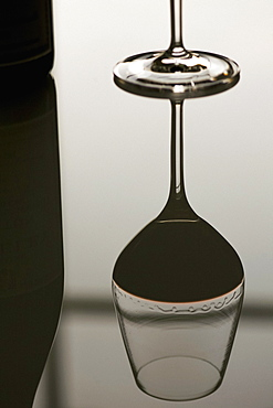 Reflection red wine glass