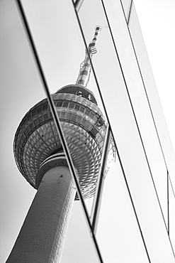 Reflection of Television Tower on glass highrise windows, Berlin, Germany