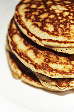 Close up stacked pancakes