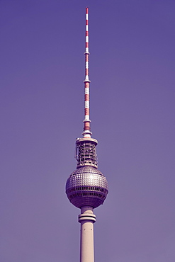 Television tower against sunny, blue sky, Berlin, Germany
