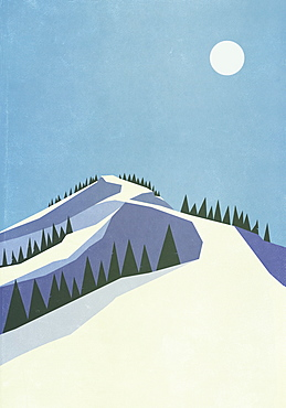 Full moon over snowy mountain slope