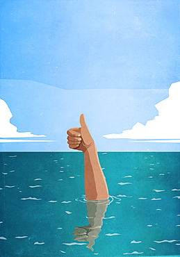 Sinking hand gesturing thumbs-up in sea