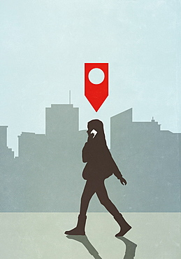 Map pin icon above woman walking and talking on smart phone in city