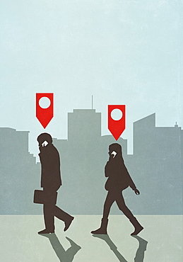 Map pin icons above business people walking and talking on smart phone in city
