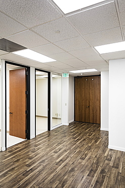 Hardwood floors in empty business office