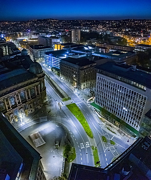 Aerial view empty city streets at night during COVID-19, Stuttgart, Germany